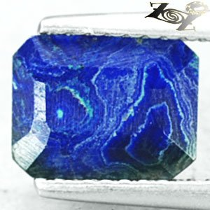 Natural Emerald 7*8.5 mm. Blue Green World Map Tracery Azurite Malachite 1.82 CT
