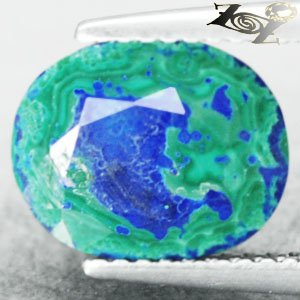 3.03 CT.Natural Oval 8.5*10.5 mm Azure Blue Green World Map Azurite Malachite
