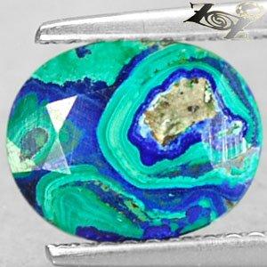 2.33 Ct.Natural Oval 8*10mm World Map Pattern Azure Blue Green Azurite Malachite