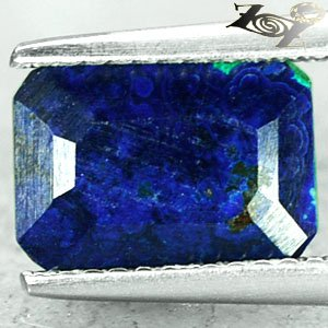 2.72 Ct.Natural Emerald 7*10 mm Ocean Island Almost Azure Blue Azurite Malachite