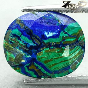 7.71 CT.Natural Oval 12*14 mm. Forest Sea Mountain World Map Azurite Malachite