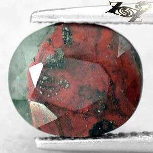 3.81 CT.Unusual Natural Oval 8*10 mm. Silver Pyrite Green Red Bloodstone Gem ���