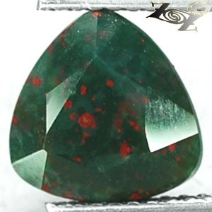 2.42 CT.Natural Trillion 9 mm. Red Spot Hard Green Africa Heliotrope Bloodstone