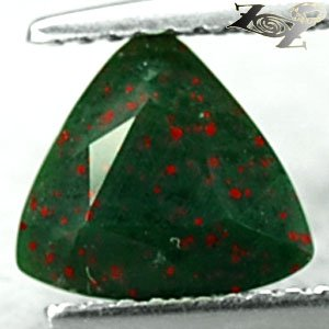 Natural Trillion 8mm Red Spot Green Blood Shot Heliotrope Bloodstone 1.72 CT ���