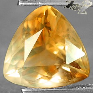 2.5Ct.Full Fire Flawless Natural Trillion 9mm Brandy Yellow Tanzania Citrine �水�