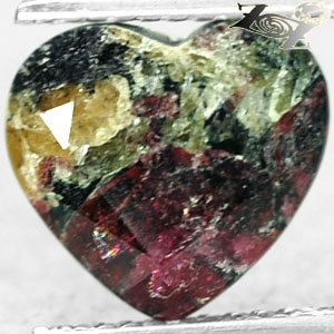 3.83 CT.Natural Heart 9.5*10 mm. Magenta Red Crystal Black Canada Eudialyte Gems