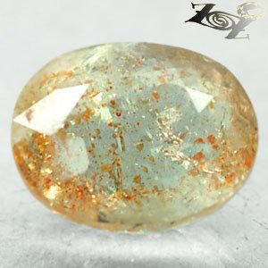 7.03CT.Natural Oval 10*13mm.Hematite Plate Kiwi Green Illusion Confetti Sunstone