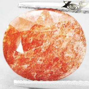 5.7 CT.Natural Oval 10.5*12 mm. Spark Hematite Orange Illusion Confetti Sunstone