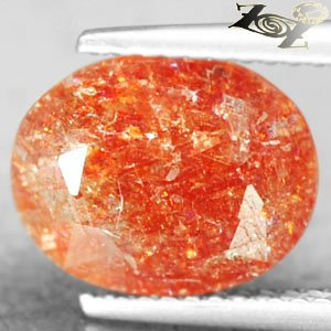 3.71 CT.Natural Oval 9*11 mm. Spark Hematite Orange Illusion Confetti Sunstone