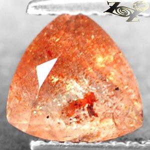 Natural Trillion 7.5 mm Spark Hematite Orange Illusion Confetti Sunstone 1.55 CT