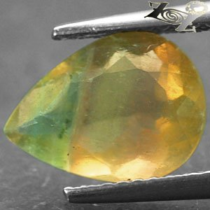 2.89 Ct.Natural Pear 8*11 mm Purple Green Banded Yellow Vietnam Rainbow Fluorite