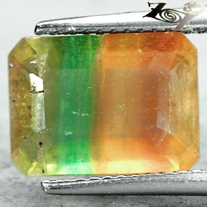 5.82Ct.Natural Emerald 9*12mm Green Purple Canary Yellow Layer Clear Fluorite ��