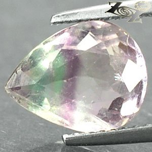 3.42 Ct.Natural Pear 8*11 mm. Purple Green Banded White Blue John Color Fluorite
