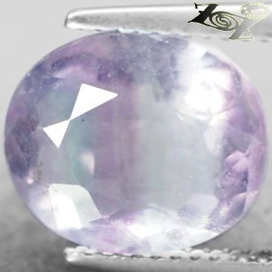 5.94 CT.Natural Oval 10*11.5 mm. Intense Purple Green Crystal White Fluorite Gem