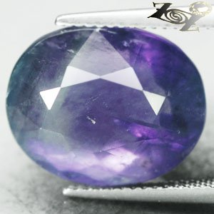 16.6 CT.Natural Oval 13*16 mm Intense Sweet Violet Green Layers Clear Fluorite