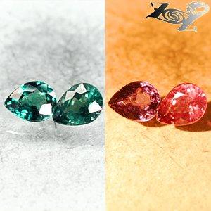 Pair VVS Natural Pear 4*5mm.Vivid Blue Green Nandagala Color Change Garnet 0.7CT