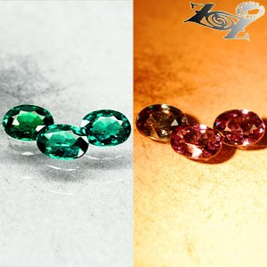 Match 3 Natural Oval 3.5*4.5mm Blue Green Nandagala Color Change Garnet 0.88 CT.
