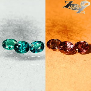 Match 3 Natural Oval 3.5*4.5mm. Blue Green Nandagala Color Change Garnet 0.88 CT