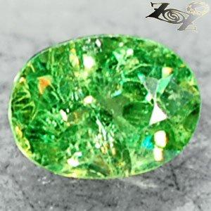 Natural Oval 5.5*7.5 mm. Red Spark Green Andradite Demantoid Garnet 1.43 CT.翠榴�