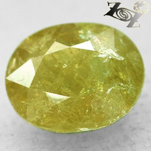 15.55 CT.Natural Oval 14*17 mm. Rainbow Spark Yellow Green Grossular Mali Garnet