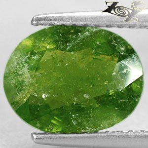 3.86 Ct.Natural Oval 8*10.5 mm. Intense Olive Green Canada Hydrogrossular Garnet