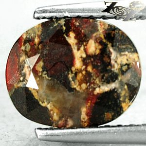 2.72 Ct.Natural Oval 8*9 mm. Red Brown Yellow Vein Crystal White Rainbow Jasper