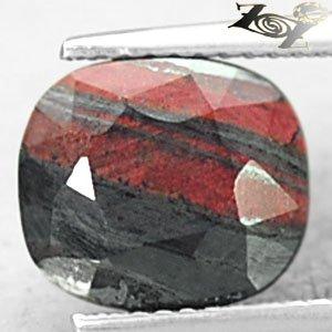4.96 CT.Natural Oval 9*10 mm. Metallic Black Hematite Red Layer Africa Jaspelite