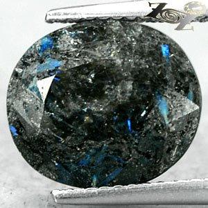 4.83 Ct.Natural Oval 10.5*12 mm. Titanium Blue Scheen Streaks Jenakite Nuummite