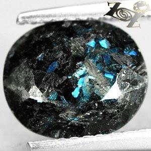 2.97 Ct.Natural Oval 8*10 mm. Titinium Blue Schiller Streaks Jenakite Gems