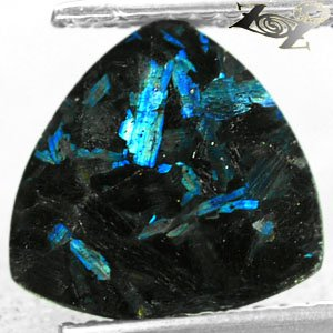 3.3 Ct.Natural Trillion 10.5 mm. Titanium Blue Schiler Steaks Jenakite Nuummite