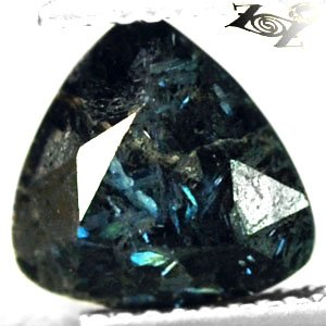 2.54 CT.Natural Trillion 9 mm. Intense Titanium Blue Schiller Streaks Jenakite