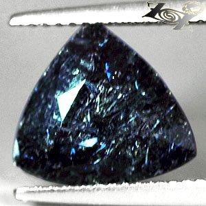 4.63 CT.Natural Trillion 11 mm. Titanium Blue Schiller Streaks Black Jenakite