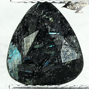 2.1 CT.Natural Trillion 8.5*9.5 mm.Titanium Blue Schiller Streaks Jenakite Gems