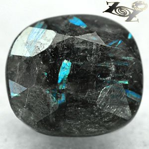 4.38 CT.Natural Oval 9*10 mm. Titanium Blue Schiller Streaks Jenakite Nuummite