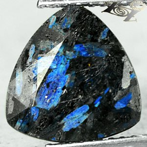 4.14 Ct.Natural Trillion 10.5 mm. Titanium Blue Scheen Streaks Whole Jenakite