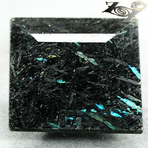 12.03 Ct.Natural Squares 15 mm. Titanium Blue Schiler Steaks Jenakite Nuummite