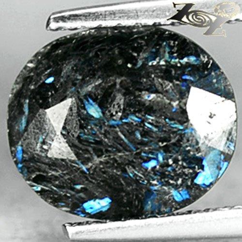 2.96 Ct.Natural Oval 9*10 mm. Titanium Blue Schiller Streaks Whole Piece Jenakite
