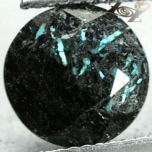 3.62 Ct.Natural Round 10 mm Titanium Blue Scheen Streaks Black Jenakite Nuummite