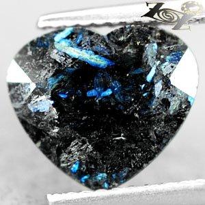 3.3 Ct.Natural Heart 9*11 mm. Titanium Blue Schiller Streaks Whole Jenakite