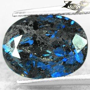 4.2 Ct.Natural Oval 10*13 mm.Titanium Blue Schiler Steaks Jenakite Nuummite