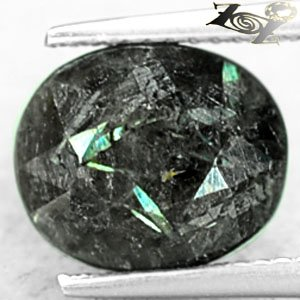 4.02 CT.Natural Oval 9*11 mm. Titanium Green Blue Schiller Streaks Jenakite Gems