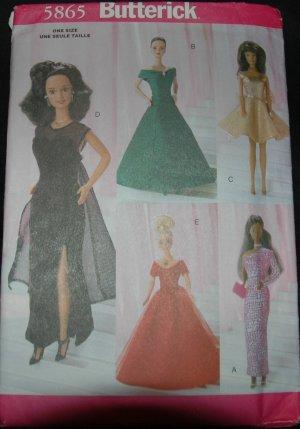 """Butterick 5865 11 1/2""""  Doll Dress Patterns"""
