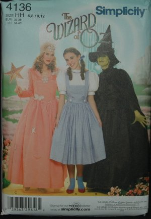 SIMPLICITY 4136 MISSES COSTUME-THE WIZARD OF OZ