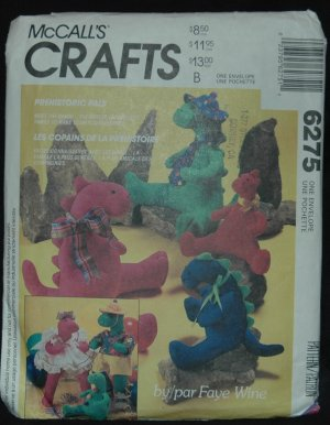 SIMPLICITY 6275 CRAFT  DINOSAUR DOLLS AND CLOTHES