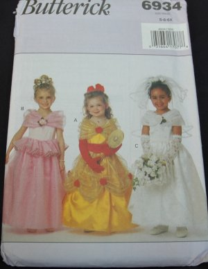 BUTTERICK 6934 GIRLS' COSTUME- PRINCESSES & BRIDE