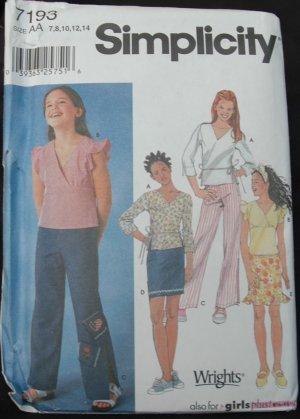 Simplicity 7193 Girl's, Girls' Plus Tops Pattern