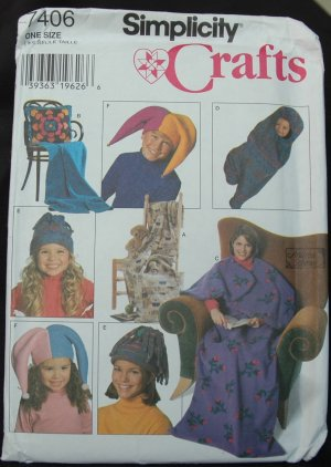 Simplicity 7406 Craft  Fleece Sitting Bag,  Stadium Tote, Pillow in a Blanket, Baby Bunting ,Hats