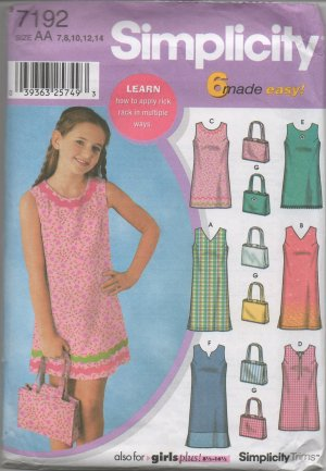 SIMPLICITY 7192 GIRLS'/ GIRLS' PLUS DRESS & PURSE