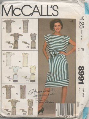 MCCALLS 8991 MISSES' DRESSES OR TOP SKIRT AND TIE BELT