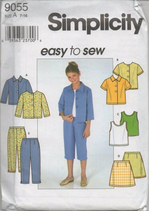 SIMPLICITY 9055 Girls' Jacket, Top, Skirt &  Pants